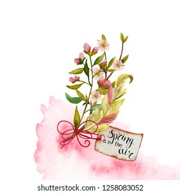 Watercolor spring bouquets with shoots,  twigs, branches, pink flowers on a white background