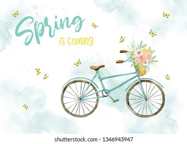 Watercolor spring card, poster. Lovely illustration. Bicycle with a basket of flowers and butterflies in pastel colors. Romantic theme. Spring is coming