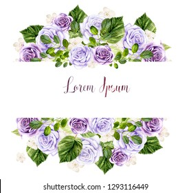 Watercolor spring card with roses and leaves. Illustration