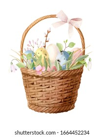 Watercolor spring Easter hand painted illustration - wicker basket with a bow  filled with colored eggs, green leaves, willow brunches, flowers - snowdrops, tulips. Perfect composition (clipart).