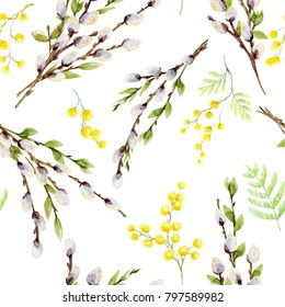 Watercolor spring Easter pattern, willow branches, flowers  Mimosa