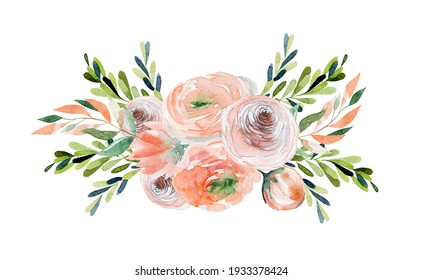 Watercolor spring floral bouquet of tender roses and wildflowers, green leaves and branches