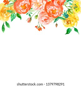 Watercolor spring floral frame with yellow roses and pink peonies, isolated on white background. Hand painted flowers border in vitage style for cards, banners, wedding invitations.