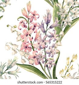 watercolor spring floral pattern of lilies of the valley and hyacinths, retro wallpaper