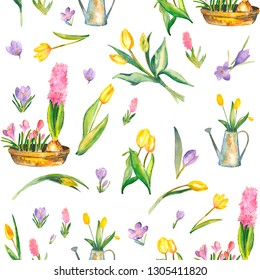 watercolor spring flovers pattern with watering can and bowl on white background