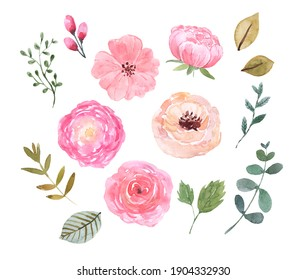 Watercolor spring flower illustrations set. Cute pink flowers, greenery, leaves, isolated on white background. Botanical graphic elements. Hand drawn clip art for wedding design, cards, invitations