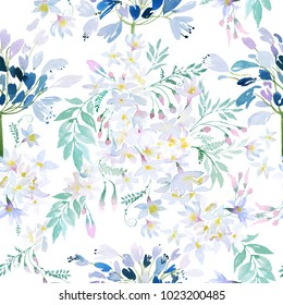 Watercolor spring flowers botanical pattern and seamless background. Ideal for printing onto fabric and paper or scrap booking. Hand painted. Raster illustration.