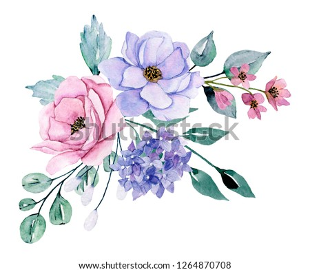 Watercolor Spring Flowers Pink Blue Peonies Stockillustration