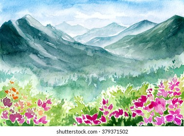 Watercolor spring landscape