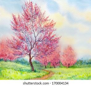 Watercolor spring landscape. Flowering tree in a field beside the path