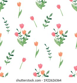 Watercolor spring seamless pattern. Bouquets of tulip  flowers.  Great for fabrics, wrapping papers, covers. Easter design. White background.