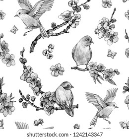 Watercolor spring seamless pattern, vintage floral bouquet with birds, blooming branches of cherry, sakura, apple trees and butterflies, isolated botanical illustration