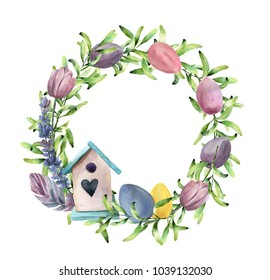Watercolor spring wreath with birdhouse. Hand painted border with greenery, tulips and pastel eggs isolated on white background. Easter floral illustration for design, print or background