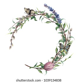 Watercolor spring wreath with butterfly. Hand painted border with lavender, willow, tulip and tree branch with leaves isolated on white background. Easter floral illustration for design, print