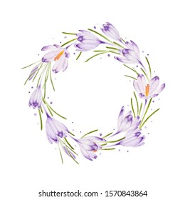 watercolor spring wreath with delicate lilac crocuses