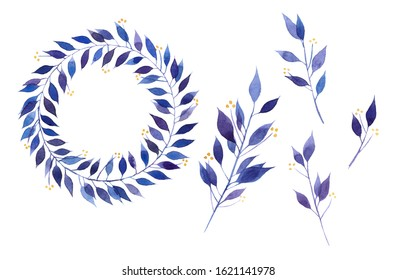 Watercolor spring wreath of lilac leaves.Watercolor round floral frame with leaves. Template for design. Perfect for greeting cards, natural cosmetics, prints, posters, packing and tea.