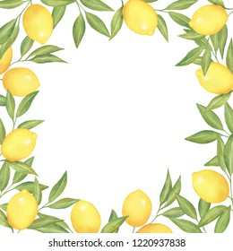 Watercolor square frame of lemons and branches. Perfect for postcards, invitations and advertisements.