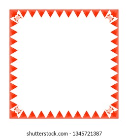 Watercolor square frame red triangles (sea imitation) in a row with crabs on a white background. Origami style. Illustration.