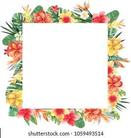 Watercolor square frame of tropical leaves and flowers. Tropical background for invitations, advertisements, postcards. Option No1.