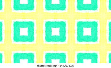 Watercolor Square Pattern. Ethnic Ornament with Green and Yellow Quadrangles. Ornamental Wallpaper. Tie Dye Batik Fabric Design. Seamless Watercolor Square Pattern.