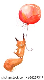 watercolor squirrel with red balloon