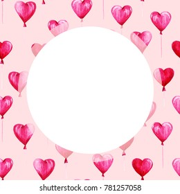 Watercolor St Valentines Day frame. Romantic pink hearts. For card, design, print or background.