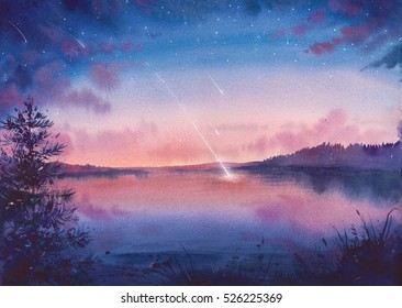 Watercolor star and lake landscape. Hand painted natural art.