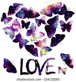 Watercolor Starry Sky, Flying Butterflies, Heart and Word Love