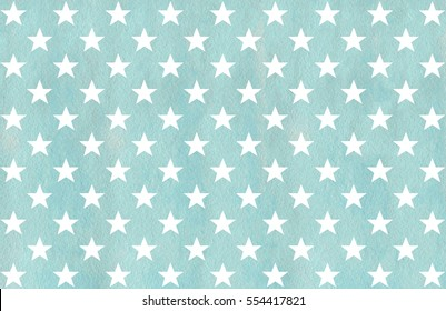 Aquarellsterne Muster in blauer Farbe.