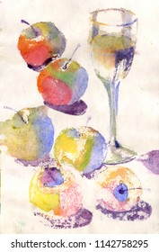 Watercolor still life with apples and wine glass in old paper