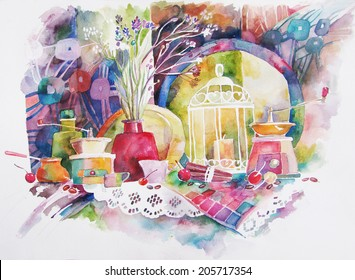 Watercolor still life with a bird cage. Original painting