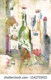 Watercolor still life with bottles in old paper