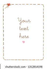 Watercolor stitch border frame with heart