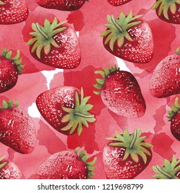 Watercolor strawberries. Hand painted botanical seamless pattern over the stained background