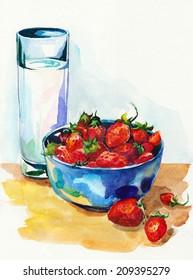 Watercolor strawberries and milk