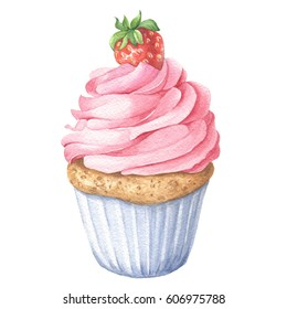 Watercolor strawberry cupcake, hand drawn delicious food illustration, isolated on white background.