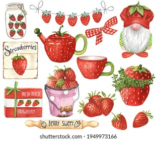Watercolor Strawberry Decor. Tiered Tray Decoration. Red Berries Set. Planner elements. Kitchen decor in farmhouse style. Strawberry Clipart.