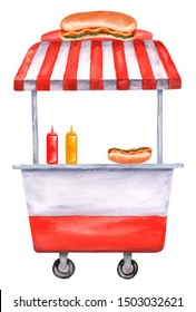 Watercolor street food cart, trolley, truck with a hot dog, ketchup and mustard. Hand-drawn illustration isolated on a white background
