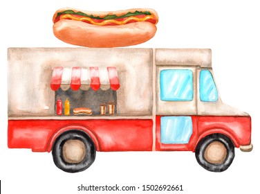 Watercolor street food truck with hot dog. Illustration isolated on white background