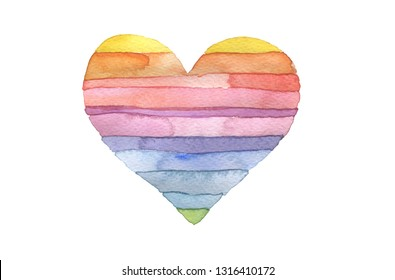 Watercolor strip heart shape. Abstract painting background. Isolate on white.