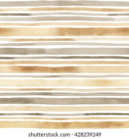 Watercolor striped seamless pattern. Hand drawn background with watercolor stripes