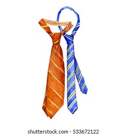 Watercolor striped tie isolated on a white background illustration.