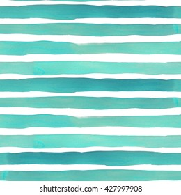 Watercolor stripes seamless pattern. Blue indigo horizontal lines.