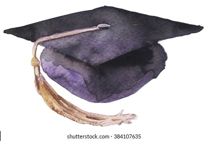 watercolor student cap on a white background