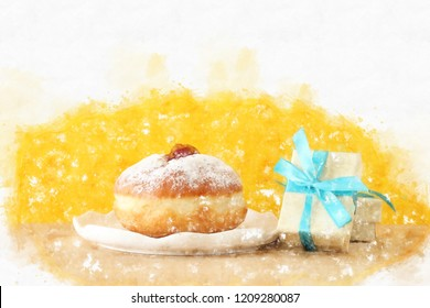 watercolor style and abstract image of jewish holiday Hanukkah with traditional doughnut