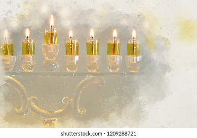 watercolor style and abstract image of jewish holiday Hanukkah with menorah (traditional candelabra)
