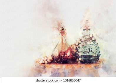 watercolor style and abstract image of vintage perfume bottle