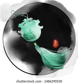Watercolor style Chinese ancient accessories jade illustration