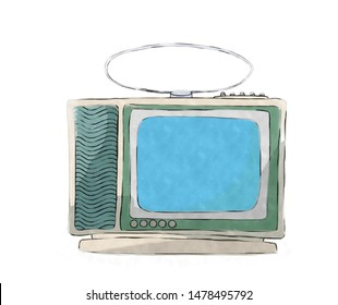 Watercolor style drawing of a retro tv set ovr white background