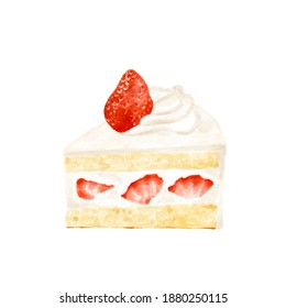 Watercolor style illustration of a delicious shortcake with strawberries on it